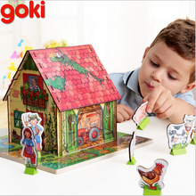 goki children's educational wooden jigsaw puzzle baby hands 3D farm scene assembling toys