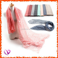 Newest design dot & stripe printed long plain color voile scarf fabric