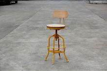 Vintage Toledo Plywood Backrest Stool/Retro Adjustable metal Bar Stool /Antique Industrial Bar Stool