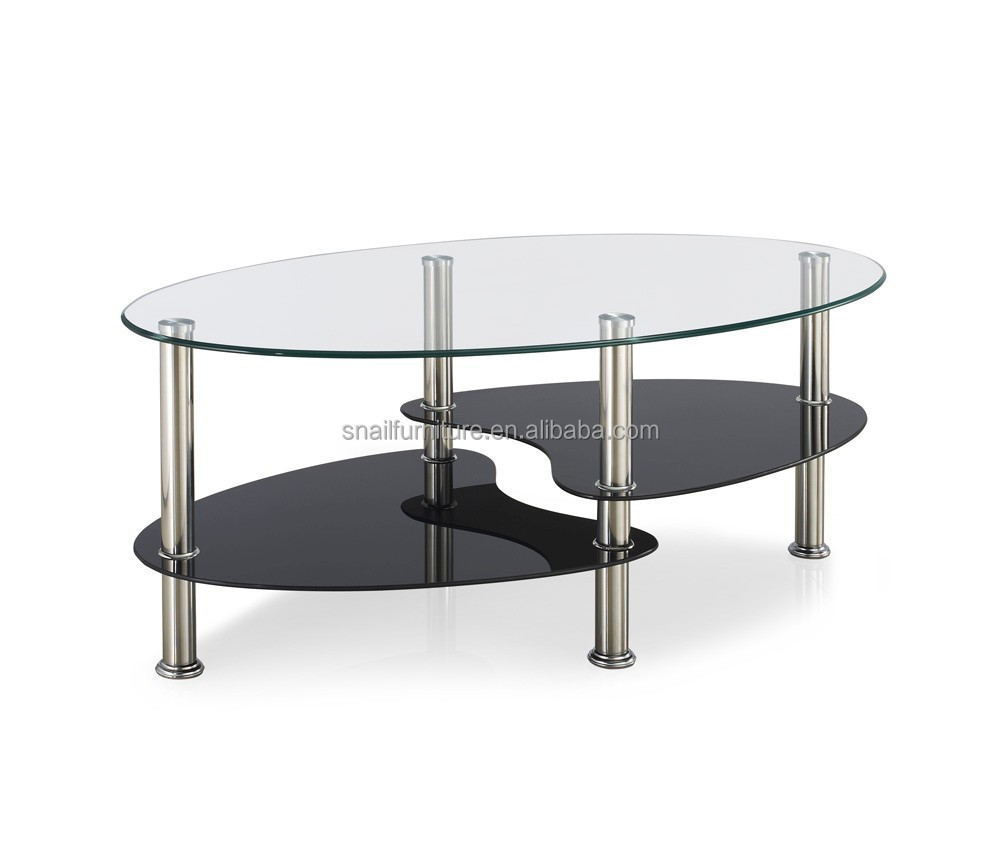 Classic Oval Glass Coffee Tables Living Room Furniture