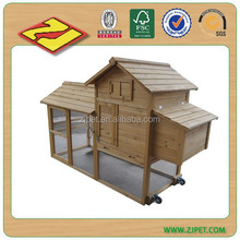 Pawhut Deluxe Portable Backyard Chicken Coop / Fenced Run and Wheels DXH014T