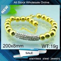 stainless steel gold plated bead bracelet shamballa bracelets pipe