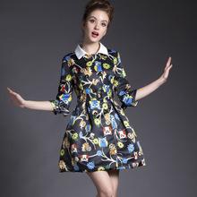 Sign owl pattern spring models Women's Sleeve Slim skirt type coat