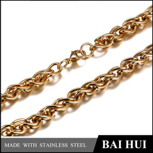 Baihui Jewelry-7MM Stainless Steel 18K Gold Necklace For Men/Quality Bling Bling 18K Gold Necklace