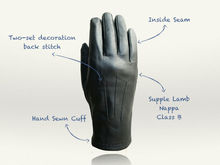 Ladies Black Lamb Nappa/Sheep Skin Leather Gloves (in stock)