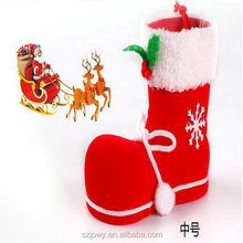 Funny red felt christmas stockings/boot fill with/hold candy Different size
