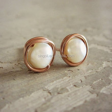 Rose Gold Stud Earrings, Small White Pearl Posts, Freshwater Pearl Earrings, Wire Wrap Post Earring
