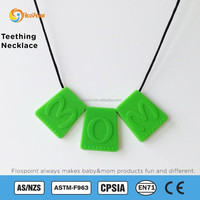 Durable and beautiful teething jewelry set and charm necklace for girls, food grade non toxic silicone jewelry set as teethers