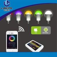 Langma 64million colors changing ,RGBW 9W E27 LED bulb ,AC86-264V,Changing Dimmable LED Bubble Ball Bulb,CE ROHS mi.light wifi