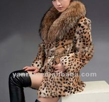 YR-437A Printed genuine rabbit fur and raccoon dog fur coat