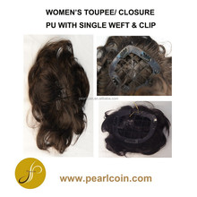 Human Virgin Natural Hair Black Brown Women's Weft Clip PU Net Toupee Closure