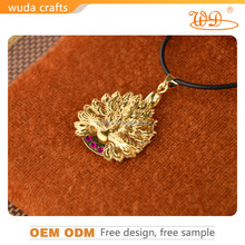 24K pure gold plated diamond pendant with peacock shape