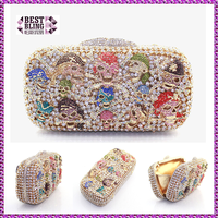 Crystal gold color Skull Heads Evening Clutch Bag (8610A-G)