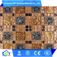 Latest design decorative wall Beautiful flower patterns mosaic glass tile for sale