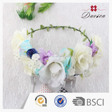 High quality Artificial hair flower wreath BSCI factory do flower garland