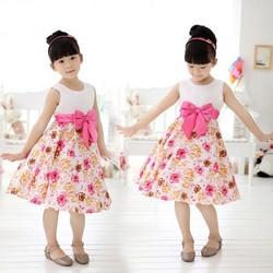 2015 Fashion Summer Sleeveless O-Neck Splice Print A-Line Sundress High Waist Casual Party Dress For Girls SV018682