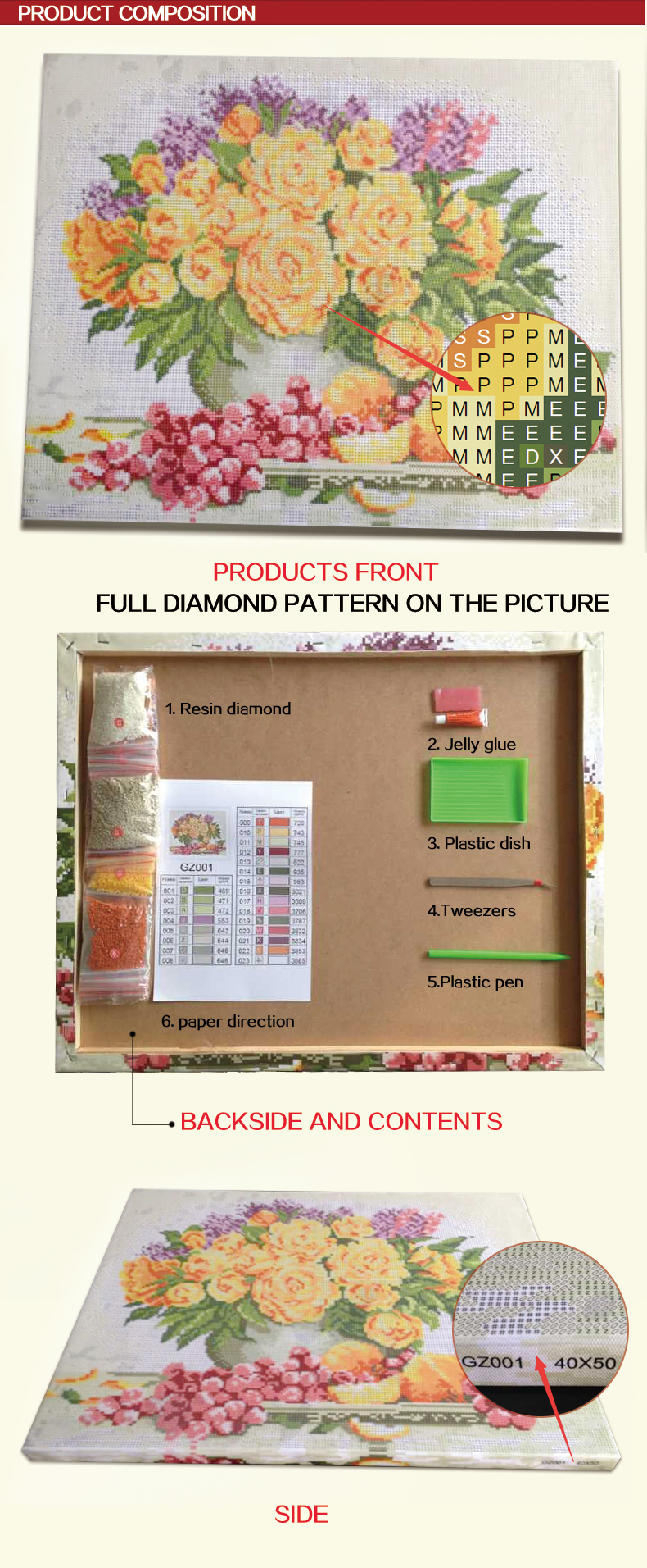 GZ123 OEM paintboy russian flower Do it yourself diamond painting sets