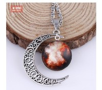 High quality Galaxy Necklace round galaxy and hollow out moon necklace 120pcs