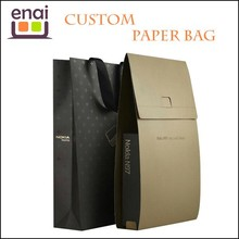 Upper style ziplock stand up kraft paper gift bag with luxury surface for box package