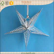 Christmas decoration hanging silver foil origami star paper