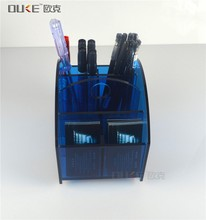 Bespoke clear acrylic pen holder with memo holder