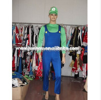 Adult drop ship carnival junhou China Supplier New Mens Super Mario Luigi Brothers Bros Boys Fancy Dress Costume Halloween Cost