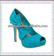 Newest Italian Styles Suede Leather High Heels Lady Peep Toe Shoes