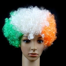 2015 Hot sale best price cheap synthetic hair 120g green white orange India fans short wigs for men
