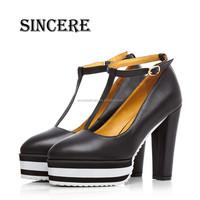 Top Handmade Work Platform Women Leather Pump Shoes