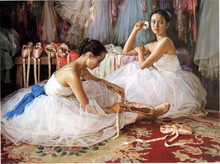 two ballet dancer House decorative woman oil painting hot selling cheapest oil painting handmade factory price oil painting