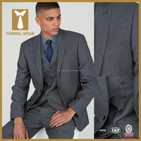 High quality popular grey color notch lapel custom 3 piece suit for men