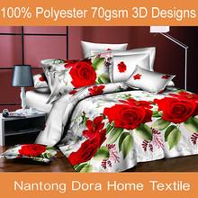 3D latest design flower bedding sets,3D duvet cover set, branded bed sheet