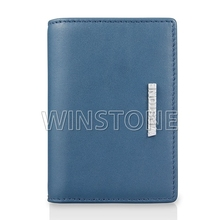 Contrast color metal logo leather name card wallet