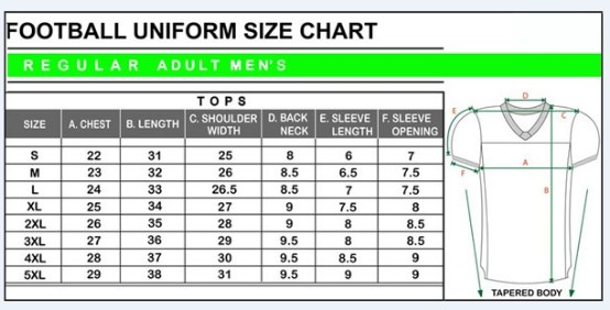 youth football jersey size chart