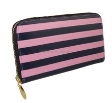 2014 hot selling high quality stripe pattern zipped lady wallet