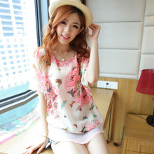 Summer Slim was thin super cents two butterfly flower chiffon bat sleeve style shirt loose large size women's T-shirt Ladies' Bl