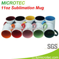 11oz ceramic rim color mugs for sublimation blank, over 10 years experience, Microtec