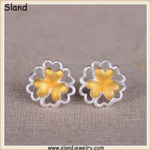 wholesale Sterling Silver Flower Stud Earrings/ pure silver 925 platinum &gold plated two tones fancy earrings