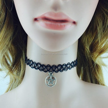 Vintage Stretch Tattoo Choker Necklace Gothic Punk Grunge Henna Elastic with Pendant Necklaces