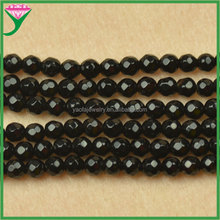 AAA quality 4mm loose faceted round natural black agate beads strands