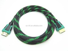 Black and Green Nylon Mesh Dual Color AM to AM V1.4 Support 3D HDMI Cable