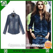 nuevo diseño de dril de algodón de manga larga blusa lavada occidental damas dril de algodón camisa de la mujer