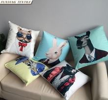 Short Floss Soft Fabric Animal Human Shape Print Home Decor Cushion