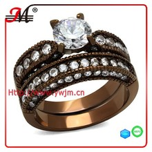 RB8162 Fashion Coffee color ring clear crystal white zircon gay men ring wedding ring