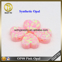 Heart Cabochon Synthetic Pink Fire Opal