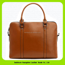 15224 Hot Sell Italian Trendy Men Coffee Top Layer Leather 14 inch Laptop Briefcase Shoulder Bag
