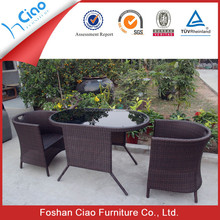 Oval outdoor furniture glass tea table and chairs design