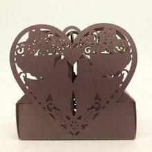 2015 Laser Cut Paper Brown Love Birds Heart Irregular Shape sweet box,Chocolate packaging box,European candy box wholesale
