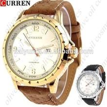 New Fashion Men's Leather Curren Watch Stainless Steel Sport Military Quartz Wrist Watch