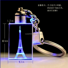2015 popular square shape 3d laser engraving crystal glass keychain with lighter for promotional gifts